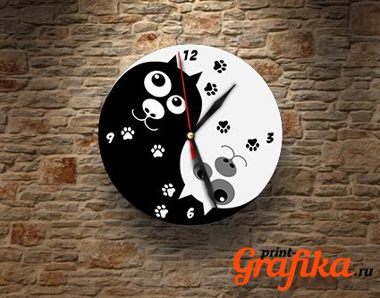 Часы Инь Янь коты