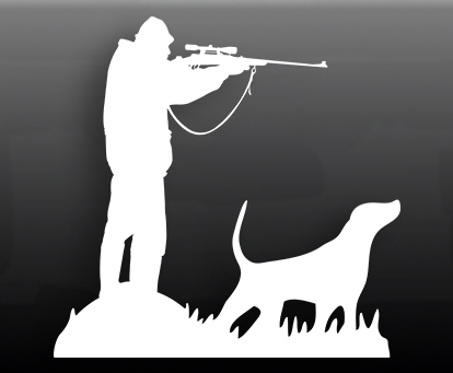 Наклейка на авто Охотник с собакой