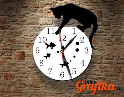 Часы аквариум с котом