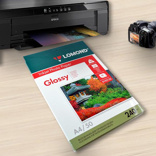 Фотобумага Lomond, A4, глянцевая, 240 г/м2, 50 листов
